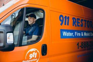 water damage restoration technician in van